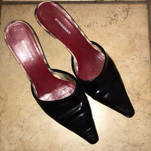 Burberry Black Patent pointed toe mules